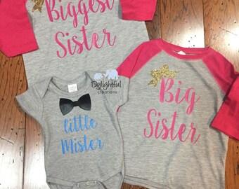 d925df6eb Biggest sister big sister little mister matching sibling shirts raglans