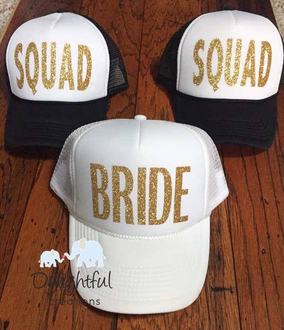 53c299d970a Bride squad trucker hats in white and black done in glitter