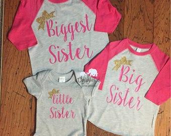 Biggest sister big sister little sister matching raglan baseball shirts great for pregnancy announcements sibling matching shirts