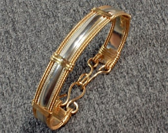 925 Sterling & 14k Gold Bracelet Women, Smooth Pattern Wire Wrap Bracelet, Silver and Gold Fill Bangle Bracelet Handmade