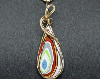 Large Fordite Detroit Agate Wire Wrap Pendant, 14k Gold Fill Necklace, Handmade Wire Wrap Jewelry, Fordite Pendant Statement Necklace Woman