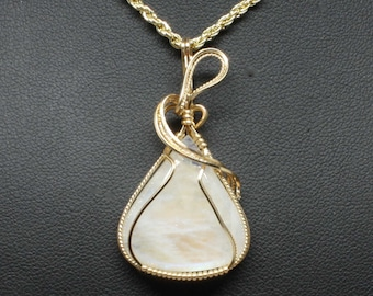 Moonstone Wire Wrap Pendant, 14k Gold Fill Necklace, Handmade Wire Wrap Jewelry, Natural Stone Pendant Statement Necklace Woman