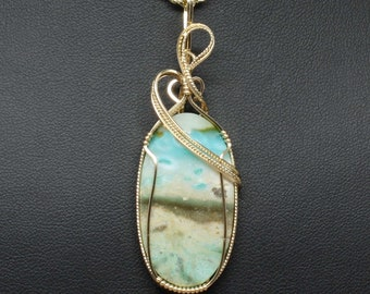 Peruvian Opal Wire Wrap Pendant, 14k Gold Fill Necklace, Handmade Wire Wrap Jewelry, Natural Stone Pendant Statement Necklace Woman