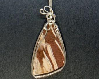 Chocolate Torte Jasper Wire Wrap Pendant, Sterling Silver Necklace Handmade Wire Wrap Jewelry,Natural Stone Pendant Statement Necklace Woman