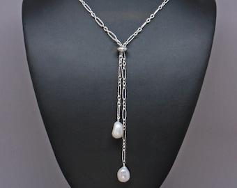 Pearl Slider Necklace, Silver Adjustable Lariat Necklace Woman, Real Pearl Necklace, Simple Y Necklace, Minimalist Necklace, Boho Necklace