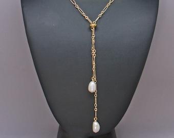 Pearl Slider Necklace, Gold Adjustable Lariat Necklace Woman, Real Pearl Necklace, Simple Y Necklace, Minimalist Necklace, Boho Necklace