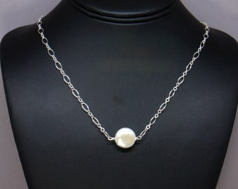 Freshwater Coin Pearl Necklace, Single Pearl Necklace Woman, Real Pearl Necklace, Simple Minimalist Necklace, Sterling Silver Chain
