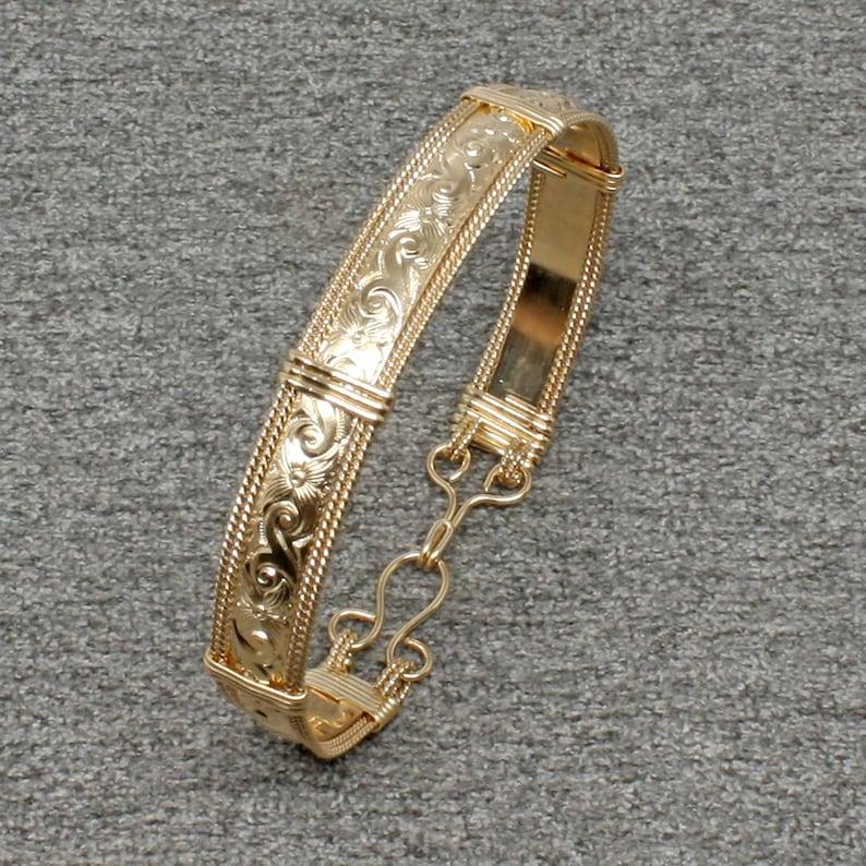 14k Gold Bracelet Women Wire Wrap Bracelet Gold Bangle image 0