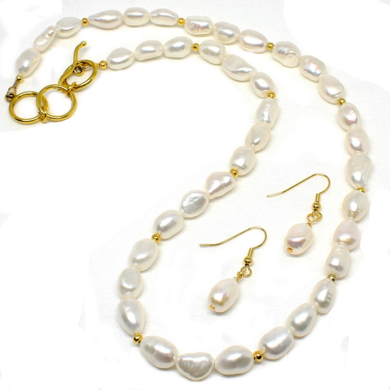 Freshwater Baroque Pearl Necklace w/Earrings Handmade image 0