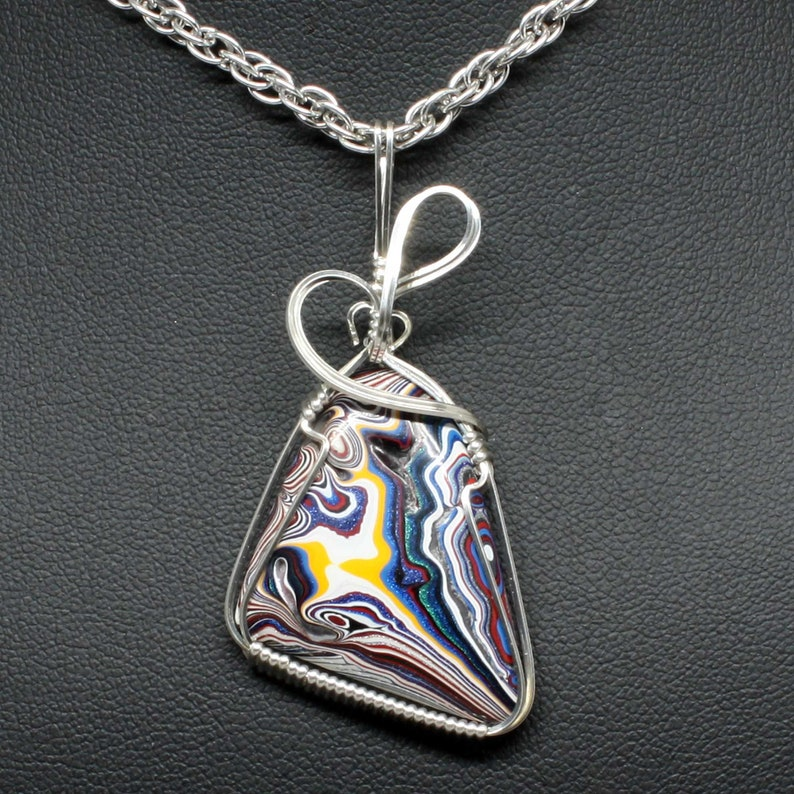 Fordite Detroit Agate Wire Wrap Pendant Sterling Silver image 0