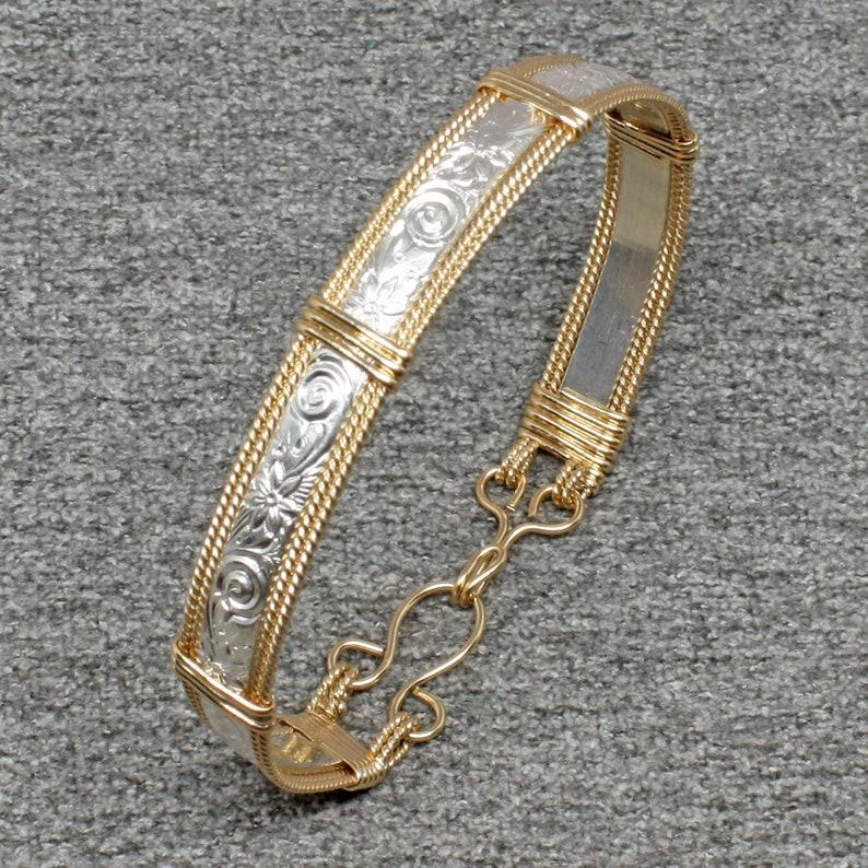 Sterling and 14k Gold Bracelet Women Wire Wrap Bracelet image 0