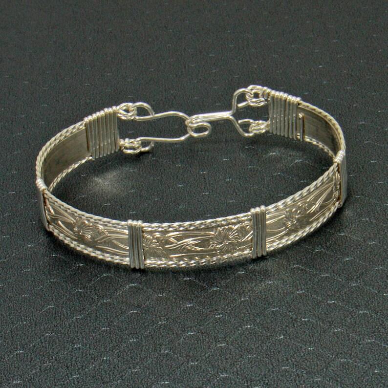 Sterling Silver Wire Wrap Bracelet Sterling Silver Bracelet Women Wire Wrapped Jewelry Wire Wrap Bangle Personalize .925 Bracelet Bangle