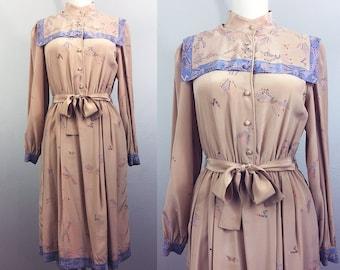 68fc0a875bb05 Vintage 70s ZANDRA RHODES Silk Dress Beige Novelty Print Designer 1970s 80s  M