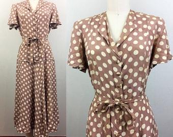 Vintage 30s 40s Café Au Lait Polkadot Belted Silk Dress 1940s  S/M