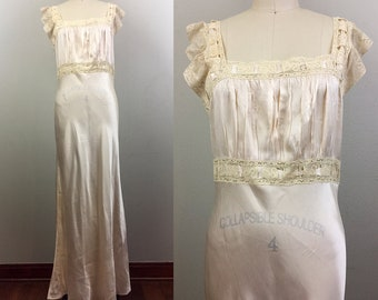 Vintage 30s 40s Pink Satin and Lace Slip Nightgown Rayon M