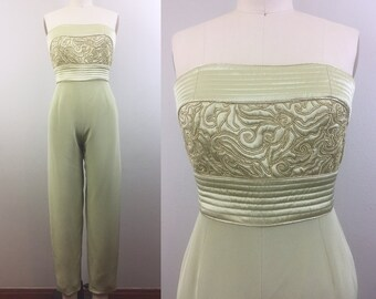 04d921731e27 Vintage 80s 90s Strapless Silk Jumpsuit Saks Fifth Avenue Gold Floral  Cording Quilted Sage Taupe XS