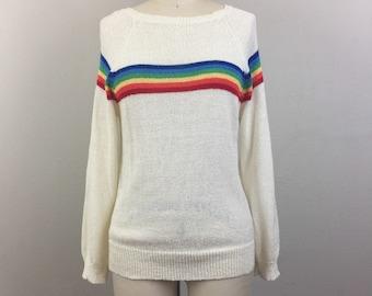 Vintage 70s 80s White RAINBOW Sweater S/M