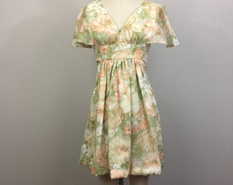 Vintage 70s Floral Mini Dress Butterfly Sleeves XS