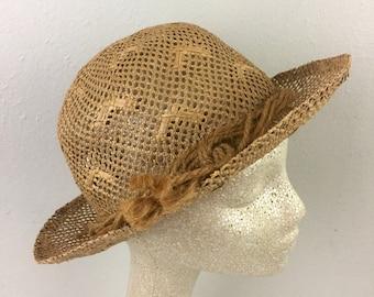 5ab7060390c Vintage 1930s Straw Hat Hattie Banash 30s