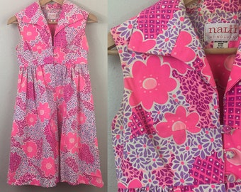 Vintage 60s Pink Flower Power Mod Hawaiian Dress 1960s Youth Size Teen Kids 3857771e9