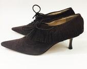 Vintage 90s JIMMY CHOO Shoes Brown Suede Leather Fringe Heels Pointy Toe Lace-Up Designer 7.5