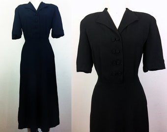 7128cd9d796d Vintage 40s Black Rayon Crepe Dress 1940s M/L