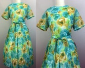 Vintage 50s Dress Blue and Yellow Floral DEADSTOCK Pleated Full Skirt w Belt 1950s L