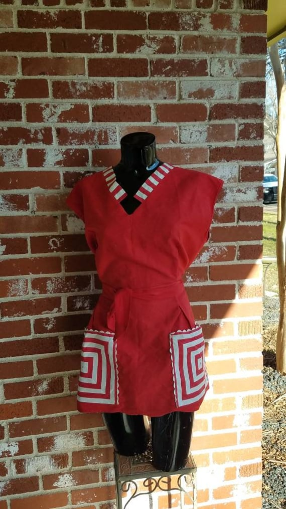 Vintage 40s Red Top Cotton RARE Pockets Tunic Apro
