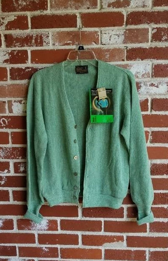 Vintage 60s Green Mens Cardigan Sweater Deadstock