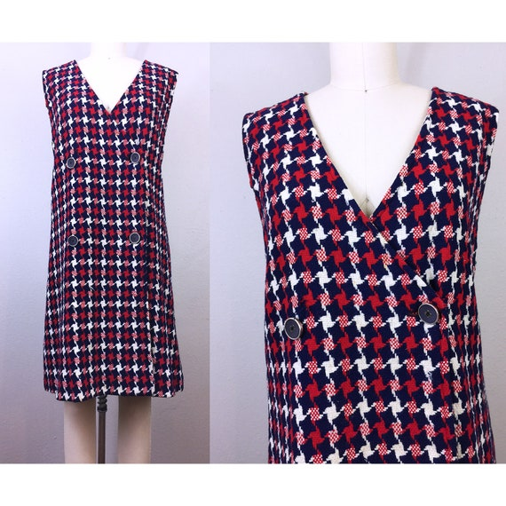 Vintage 60s MOD Houndstooth Dress Wool Red White B