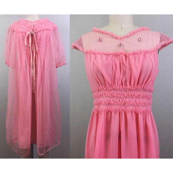 Vintage 50s Pink Peignoir Set Ruffle Flowers Robe