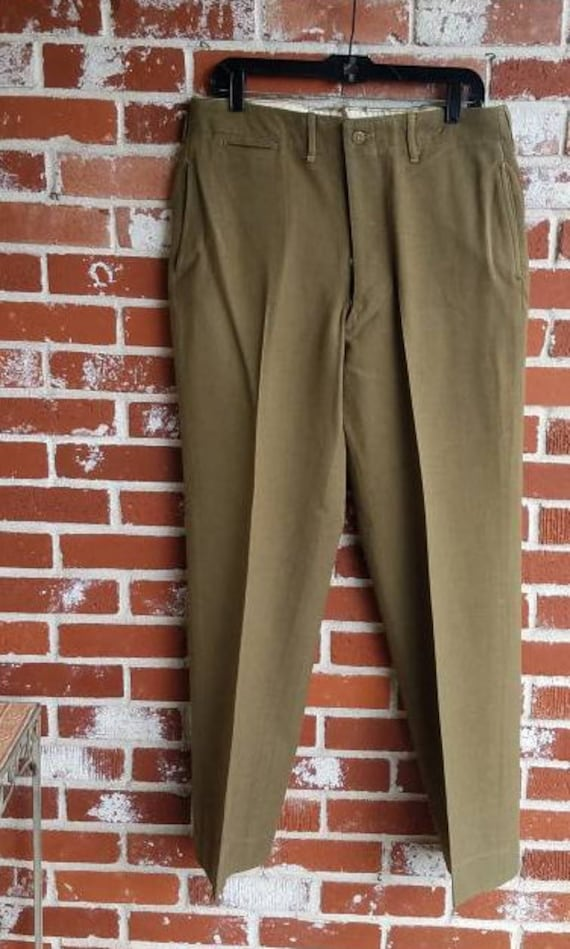 Vintage 30s 40s Army Green WW2 Trousers  Pants  Mi