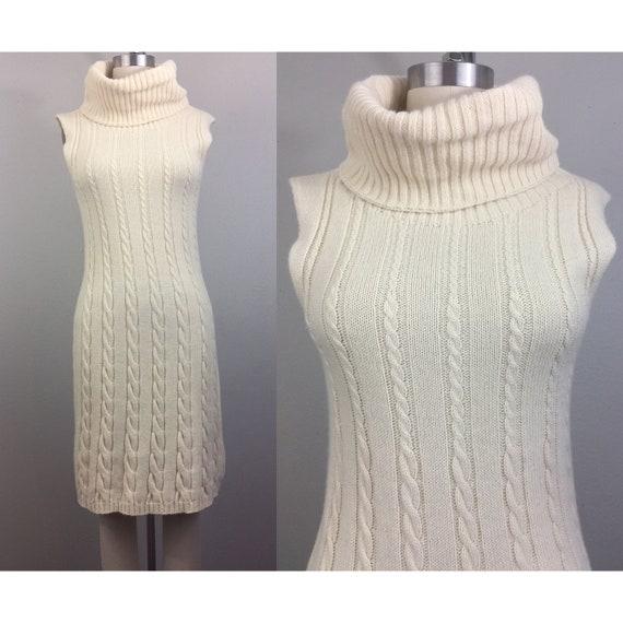 Vintage 80s 90s BENETTON Sweater Dress Cream Cable