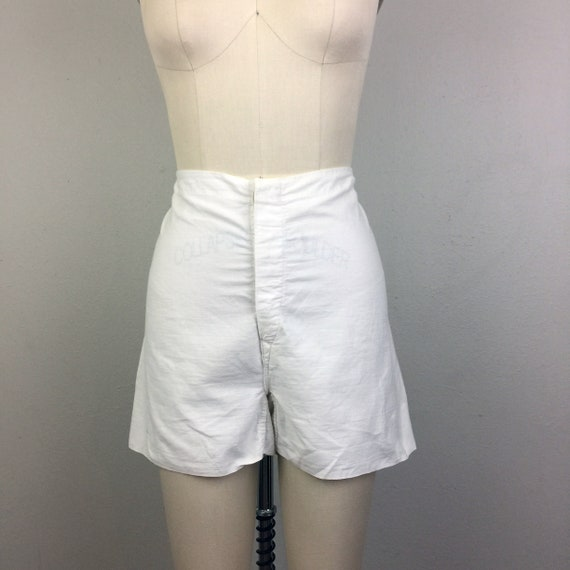 Vintage 30s 40s Gym Shorts White Cotton 1930s 1940