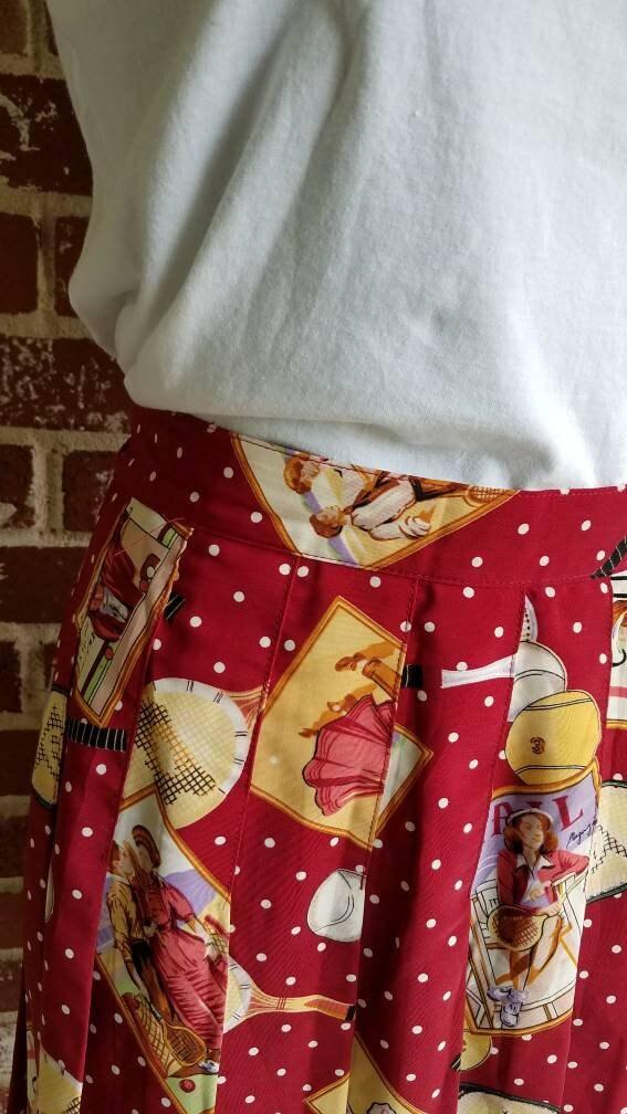 Vintage Scarf Styles -1920s to 1960s Vintage 70S Head Novelty Print Skirt Pleated Mini Tennis $24.00 AT vintagedancer.com