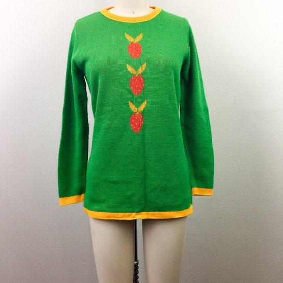 Vintage 70s Green STRAWBERRY Sweater Charlie's Gir