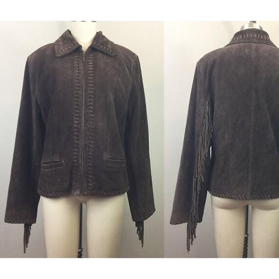 Vintage 90s Brown Suede Fringe Leather Jacket M