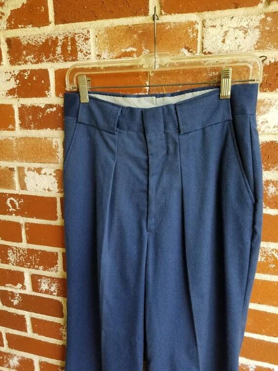 "Vintage 70s Blue Twill Pleated &Cuffed Bells 30""W"