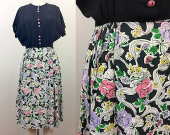 Vintage 40s Rayon Novelty Print Dress Flowers and Bows S