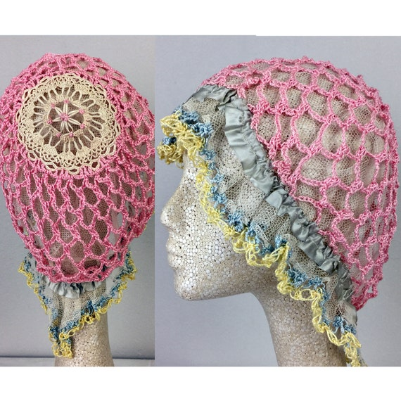 Antique Edwardian Pink Crochet Bonnet Hat 20s Flap