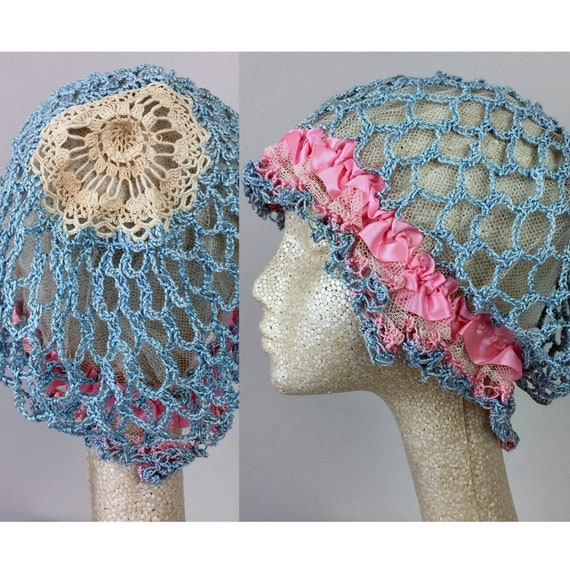 Antique Edwardian Blue Crochet Bonnet Hat 20s Flap