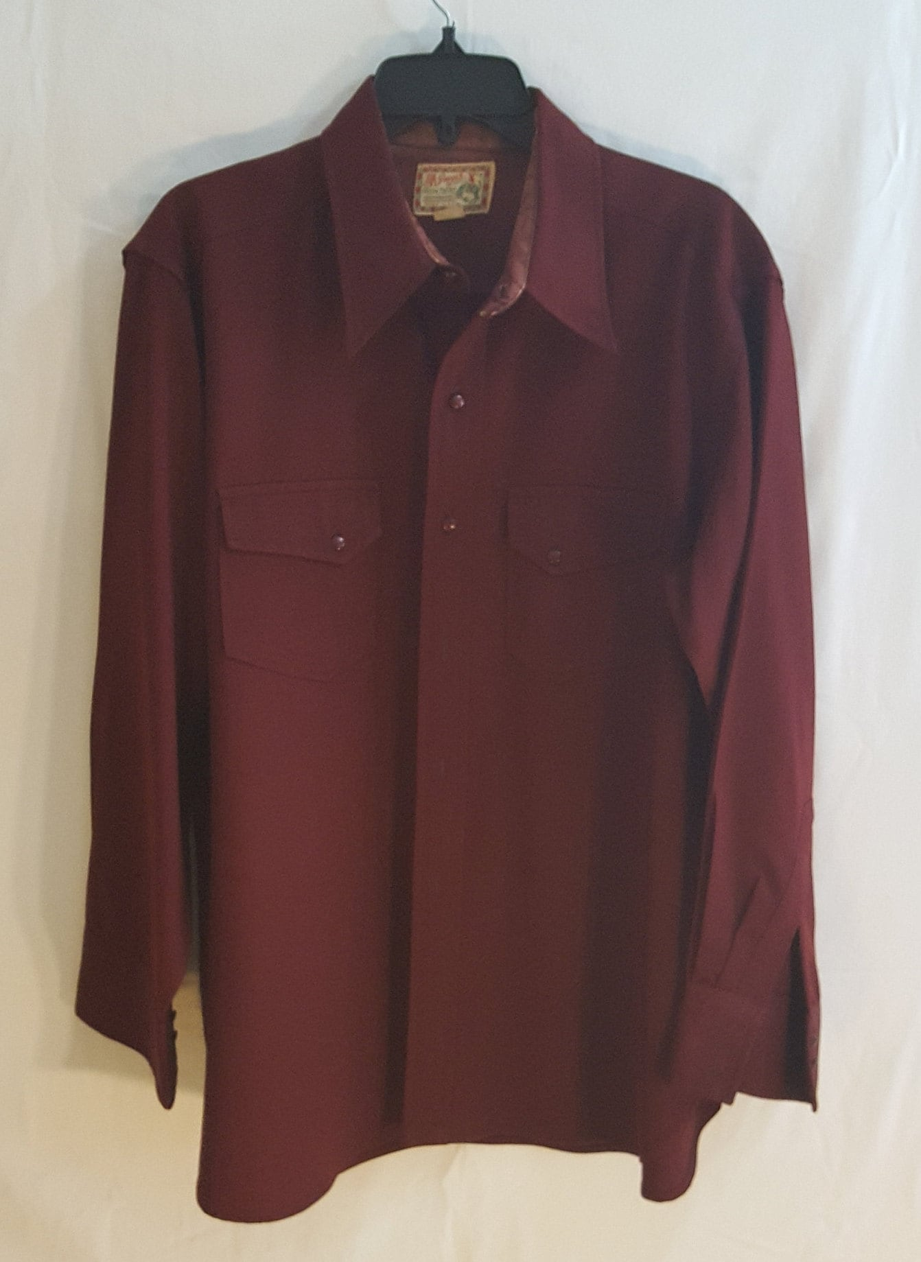 1940s Men's Shirts, Sweaters, Vests 1940S Mens Classic Burgundy Shirt WWestern Style M $23.33 AT vintagedancer.com