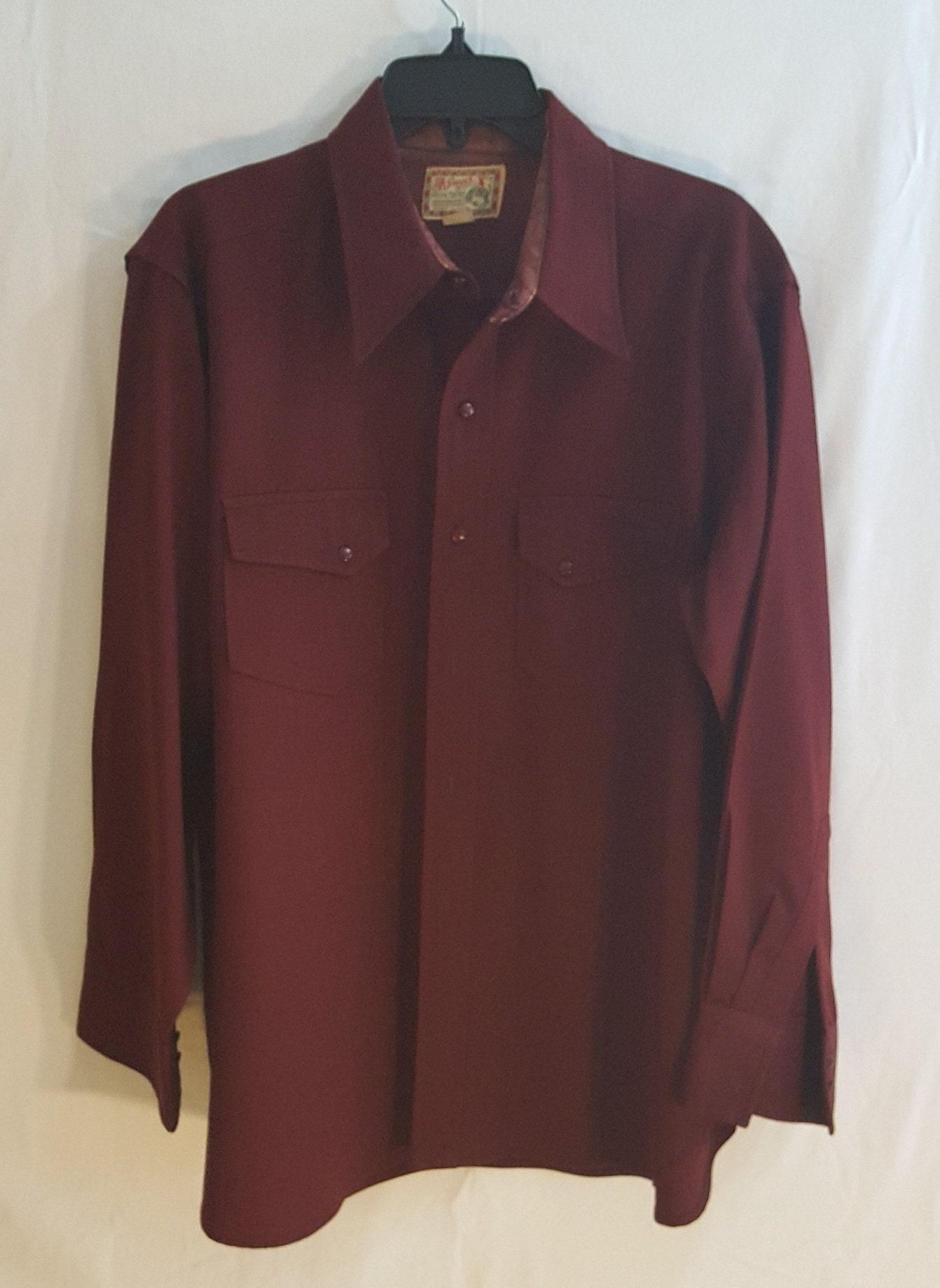 1940s Mens Ties | Wide Ties & Painted Ties 1940S Mens Classic Burgundy Shirt WWestern Style M $23.33 AT vintagedancer.com