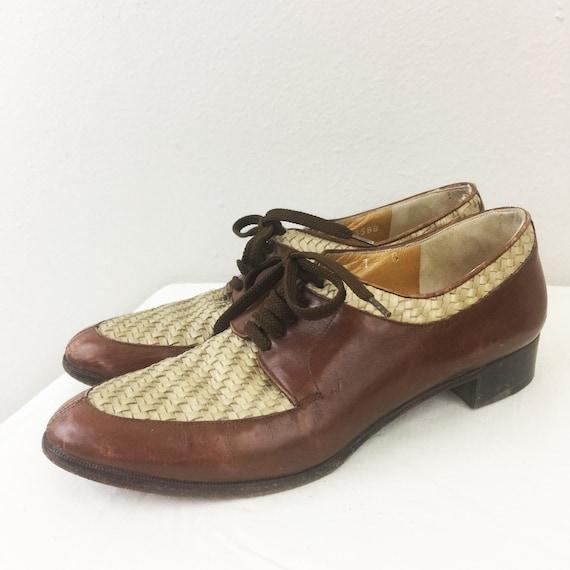 Vintage 80s 90s RALPH LAUREN Woven Leather Oxfords