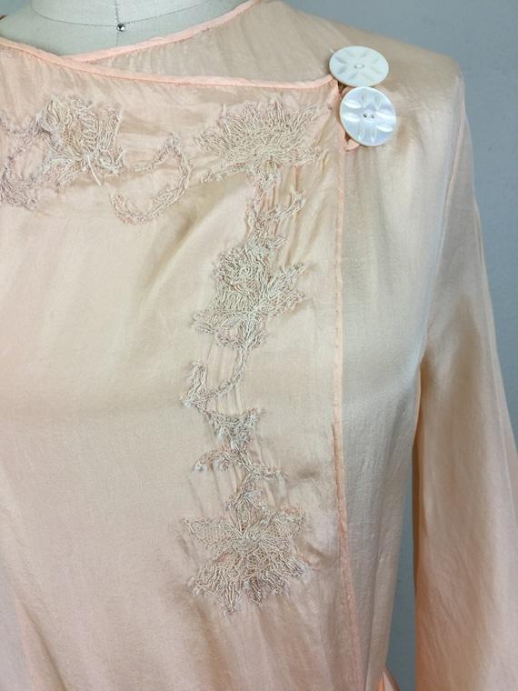 RSVD for Jeannine/Vintage 30s Peach Silk Embroide… - image 2
