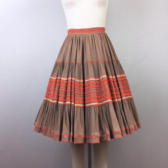 Vintage 50s Mexican Fiesta Skirt Brown Orange Ric-