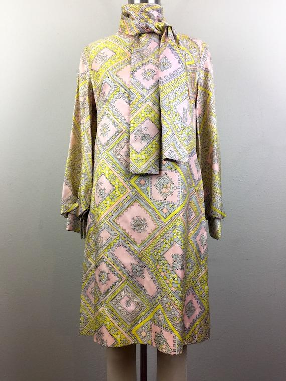 S 60s Vintage Shift 2 Dress Linen and Art Vest Psychedelic Piece Set Mod Yellow M Op 6qwnfFqp