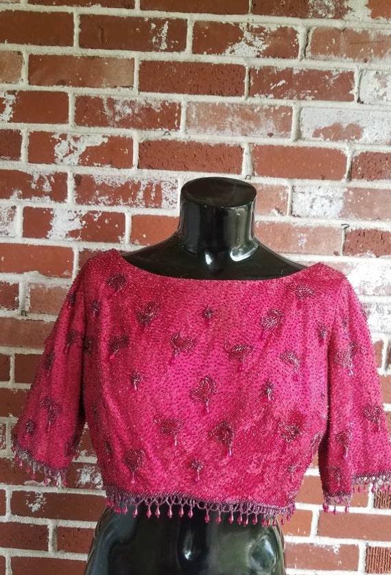 Vintage 60s Elegant Cranberry Red Brocade Silk Jew