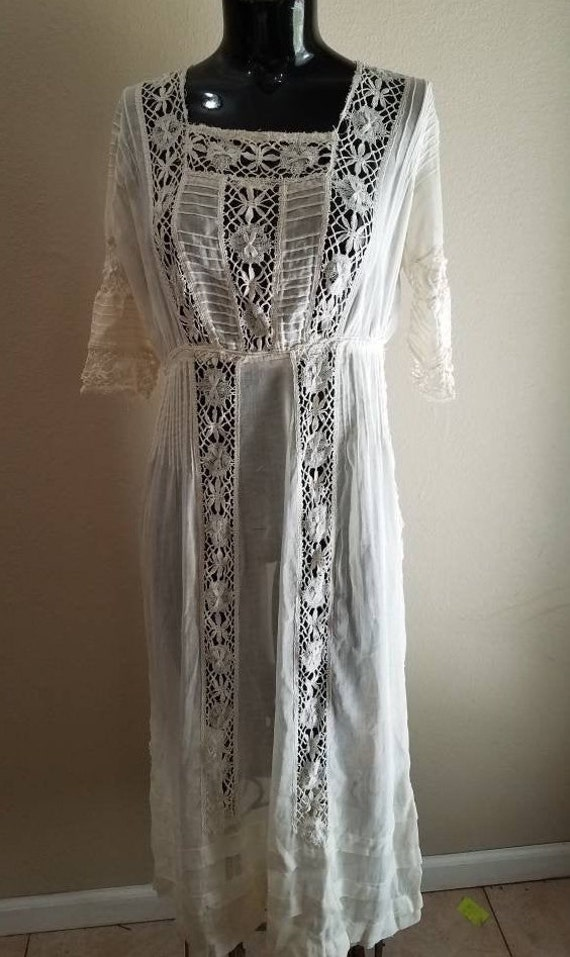 Antique STUNNING Victorian Edwardian White Dress L