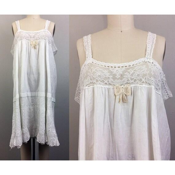 Vintage Antique Victorian Dress Slip White Cotton